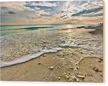 Beautiful Beach Blue Sea Sunset Wood Print by Eszra Tanner