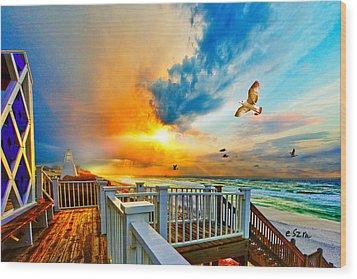 Beautiful Beach Seaside Florida Beach Staircase Wood Print by Eszra Tanner