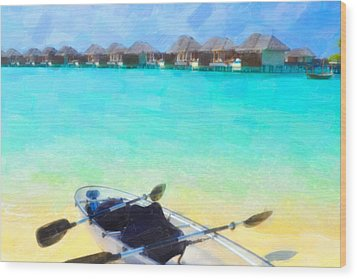 Beautiful Beach With Water Bungalows At Maldives Wood Print by Lanjee Chee