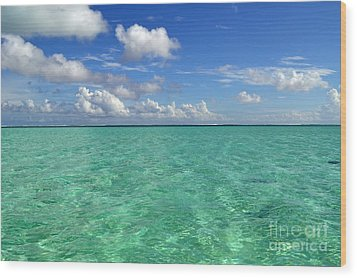 Beautiful Bora Bora Green Water And Blue Sky Wood Print