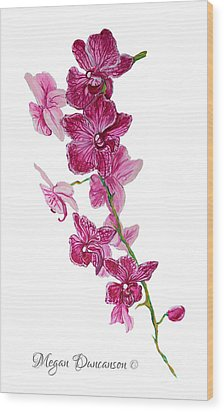 Beautiful Burgundy Orchid Flower Original Floral Painting Pink Orchid I By Megan Duncanson Madart Wood Print by Megan Duncanson