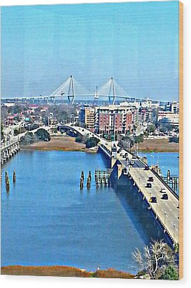 Charleston S C City View Wood Print