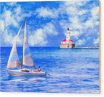 Beautiful Day For Sailing - Chicago Harbor Light Wood Print by Mark E Tisdale
