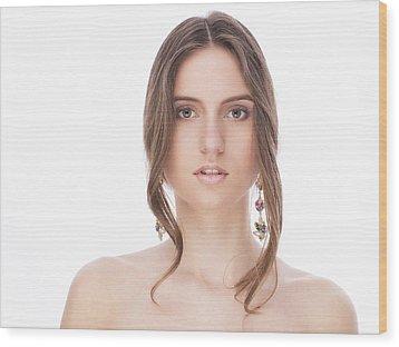 Beautiful Female With Earrings Wood Print by Anastasia Yadovina