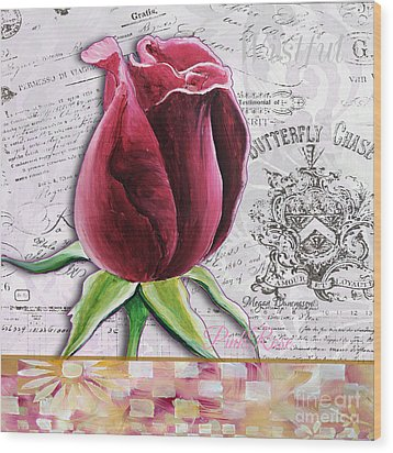 Beautiful Floral Pink Rose Original Flower Painting By Megan Duncanson Wood Print by Megan Duncanson