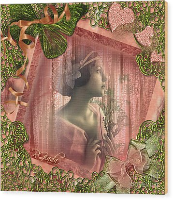 Wood Print featuring the digital art Beautiful Fragility - Vintage Scrap Art By Giada Rossi by Giada Rossi