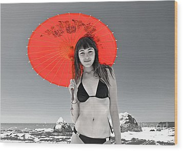 Beautiful Freckle Faced Model  At The Beach Altered Version Wood Print