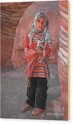 Beautiful Girl At Petra Jordan Wood Print