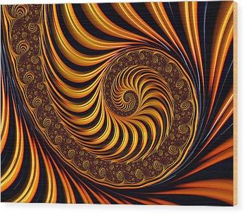 Wood Print featuring the digital art Beautiful Golden Fractal Spiral Artwork  by Matthias Hauser