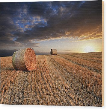 Beautiful Hay Bales Sunset Landscape Digital Painting Wood Print by Matthew Gibson