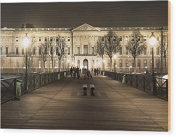 Beautiful Louvre Museum Viewed From The Pont Des Arts At Night Wood Print by Mark E Tisdale