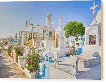 Beautiful Mexican Cemetery In Merida Wood Print by Mark E Tisdale