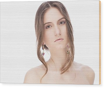 Beautiful Model With Earrings Wood Print by Anastasia Yadovina