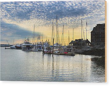 Beautiful Morning On Boston Waterfront Wood Print by Mark E Tisdale