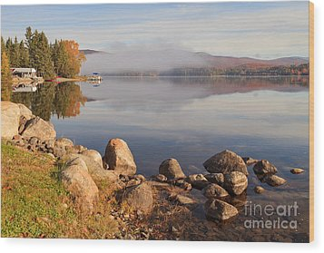 Beautiful Morning On Island Pond Wood Print