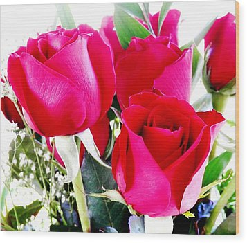 Beautiful Neon Red Roses Wood Print