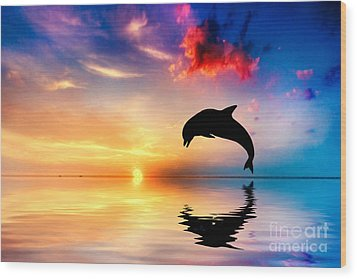 Beautiful Ocean And Sunset With Dolphin Jumping Wood Print