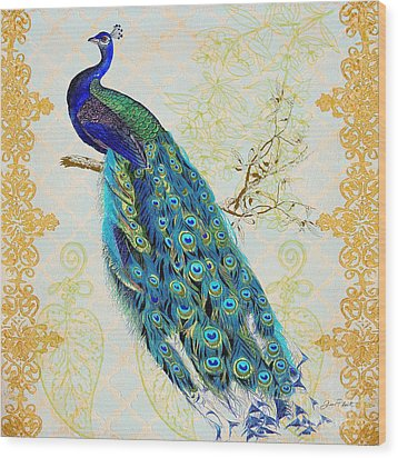 Beautiful Peacock-b Wood Print by Jean Plout