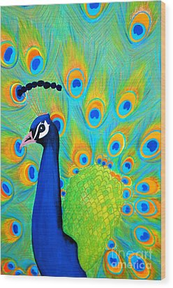 Beautiful Peacock  Wood Print by Oksana Semenchenko