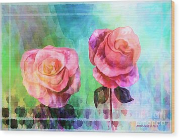 Beautiful Pink Roses Wood Print by Annie Zeno