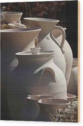 Beautiful Pottery Wood Print by Christy Ricafrente