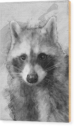 Beautiful Raccoon Wood Print by Janet Garcia