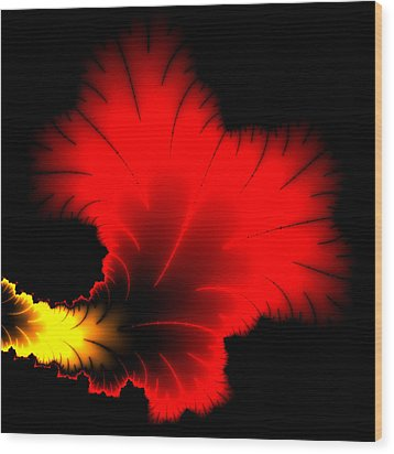 Beautiful Red And Yellow Floral Fractal Artwork Square Format Wood Print by Matthias Hauser