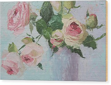 Beautiful Roses Oil Palette Knife Painting Wood Print