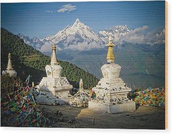 Beautiful Snow Mountain - Meili Xue Shan Wood Print by James Wheeler