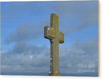 Beautiful Stone Cross In Ireland Wood Print by DejaVu Designs