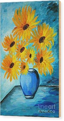 Beautiful Sunflowers In Blue Vase Wood Print by Ramona Matei
