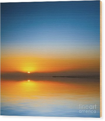 Beautiful Sunset Over Water Wood Print