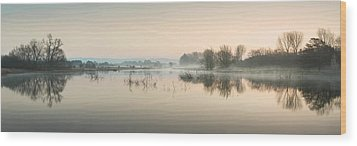 Beautiful Tranquil Mist Over Lake Sunrise Landscape Wood Print by Matthew Gibson