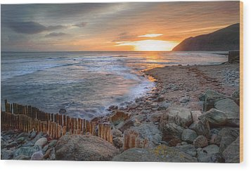 Beautiful Vibrant Sunrise Over Low Tide Beach Landscape Wood Print by Matthew Gibson