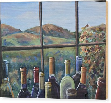 Wood Print featuring the painting Beautiful View by Donna Tuten