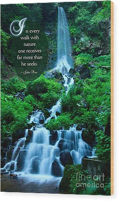 Beautiful Waterfalls Through A Walk With Nature Wood Print by Beverly Claire Kaiya