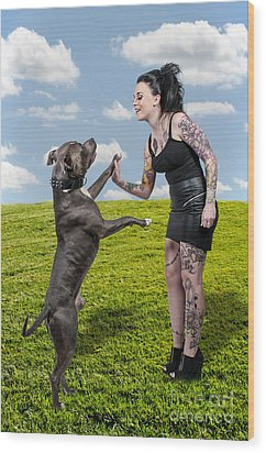 Beautiful Woman And Pit Bull Wood Print by Rob Byron