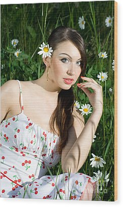 Beautiful Woman In Daisies Wood Print by Diana Jo Marmont