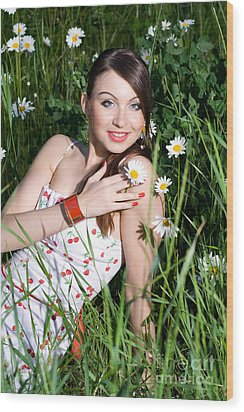 Beautiful Woman Sitting In Tall Grass And Daisies Wood Print by Diana Jo Marmont
