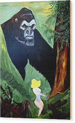 Wood Print featuring the painting Beauty And The Beast by Nora Shepley