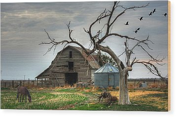 Beauty And The Geese Wood Print by Sharon Batdorf