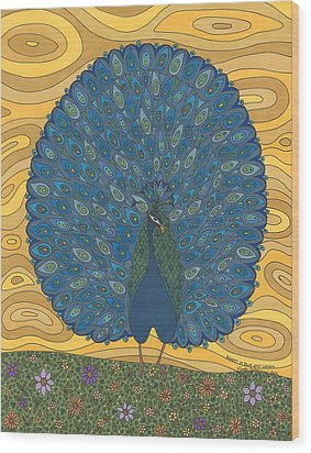 Beauty In Blue And Green Wood Print by Pamela Schiermeyer