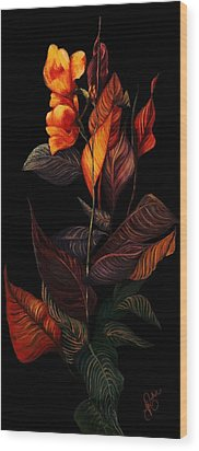 Wood Print featuring the painting Beauty In The Dark by Yolanda Raker