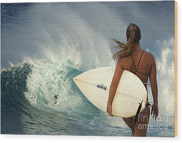 Surfer Girl Meets Jaws Wood Print by Bob Christopher