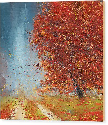 Beauty Of It- Autumn Impressionism Wood Print by Lourry Legarde