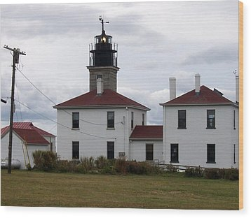 Beavertail Lighthouse Wood Print by Catherine Gagne