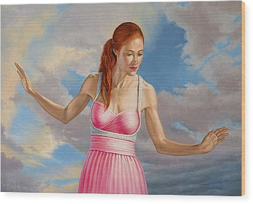 Becca In Pink Wood Print by Paul Krapf