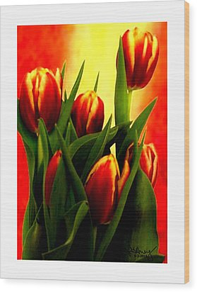 Becky Tulips Art2 Jgibney The Museum Gifts Wood Print by The MUSEUM Artist Series jGibney