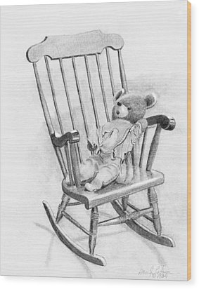 Wood Print featuring the painting Becky's Teddy by Dan Redmon