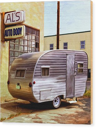 Becky's Vintage Travel Trailer Wood Print by Michael Pickett